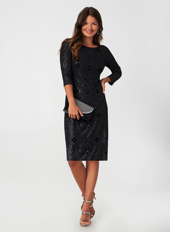 3/4 Sleeve Glitter Dress, Black, hi-res,  fall winter 2019, long sleeve dress, jersey fabric,