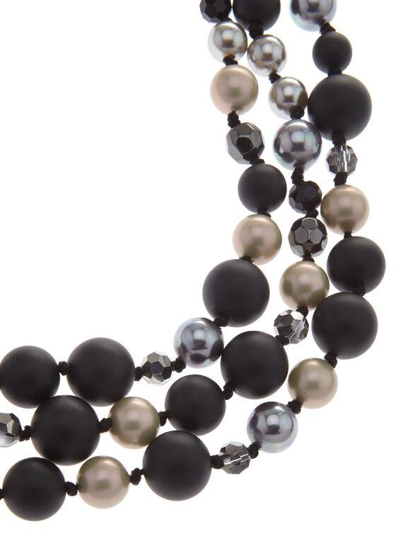 Collier à trois rangées de perles, Noir, hi-res