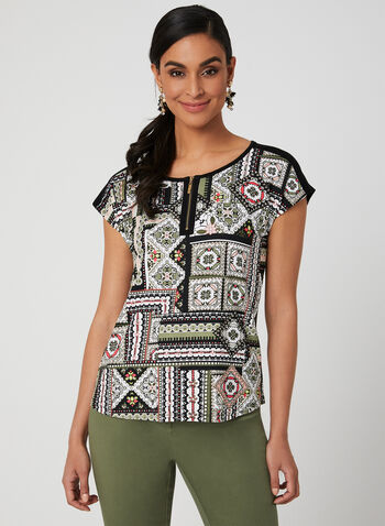 Aztec Print T-Shirt, Green, hi-res