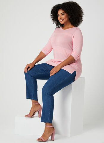 3/4 Sleeve Pointelle Sweater, Pink, hi-res