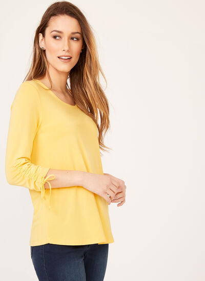 Button Trim Tie Sleeve Top