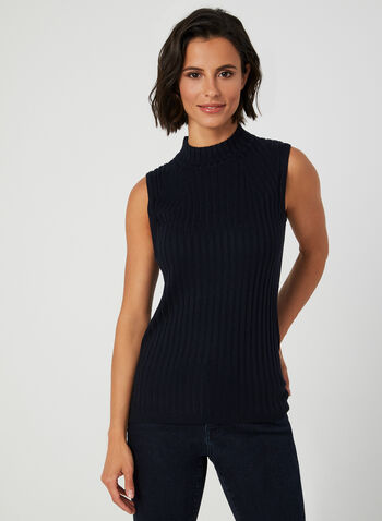 Mock Neck Knit Top, Blue,  turtleneck, sleeveless, knit, fall winter 2019, top