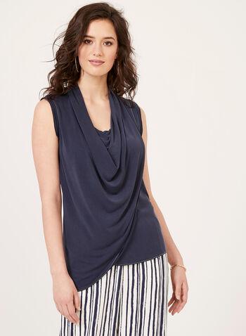 Alison Sheri - Sleeveless Drape Neck Top, Blue, hi-res