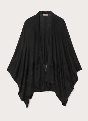 Mesh Stripe Ruana Poncho Wrap, Black, hi-res