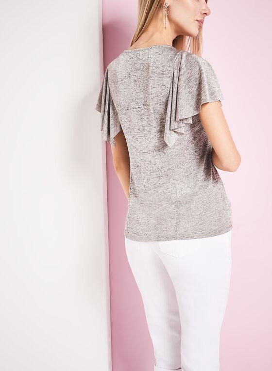 Haut tricot à manches courtes drapées, Gris, hi-res