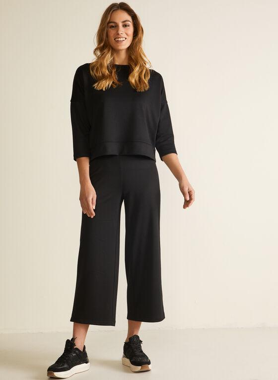Pull-On Wide Leg Pants, Black