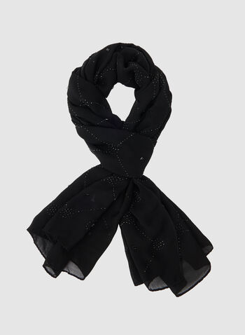 Studded Wrap Scarf, Black, hi-res