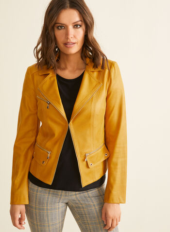 Vex - Notch Collar Faux Leather Blazer, Brown,  blazer, notch collar, long sleeves, faux leather, zipper details, shoulder pads, spring summer 2020