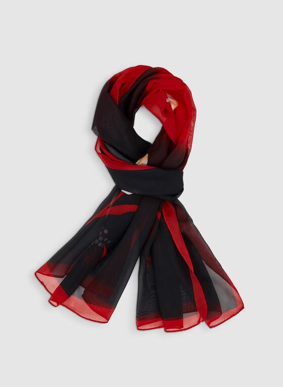 Foulard à dégradé contrastant et fleurs, Rouge