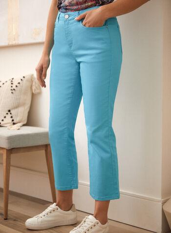 Flare Leg Denim Pants, Blue,  spring summer 2021, made in canada, jeans, pants, denim, mid rise, flare leg, wide leg, button, zipper, pockets, stretchy, cotton, belt loops