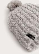 Tuque en tricot chiné avec pompon de fourrure, Gris, hi-res