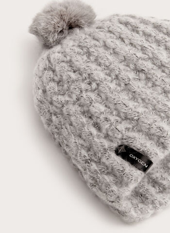 Fur Knit Pompom Hat, Grey, hi-res