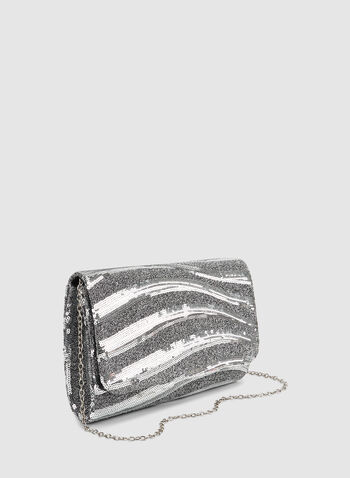 Sequin & Glitter Clutch, Silver,  fall winter 2019, sequin, glitter, flap over