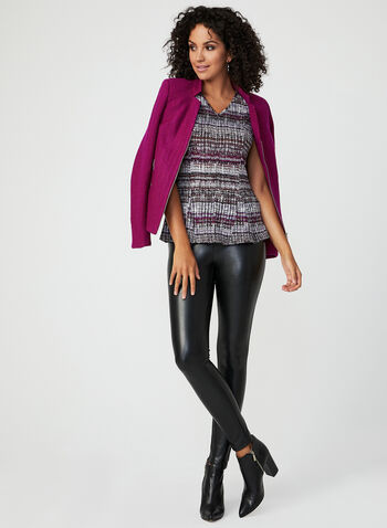 Ruffle Hem Jersey Top, Purple, hi-res