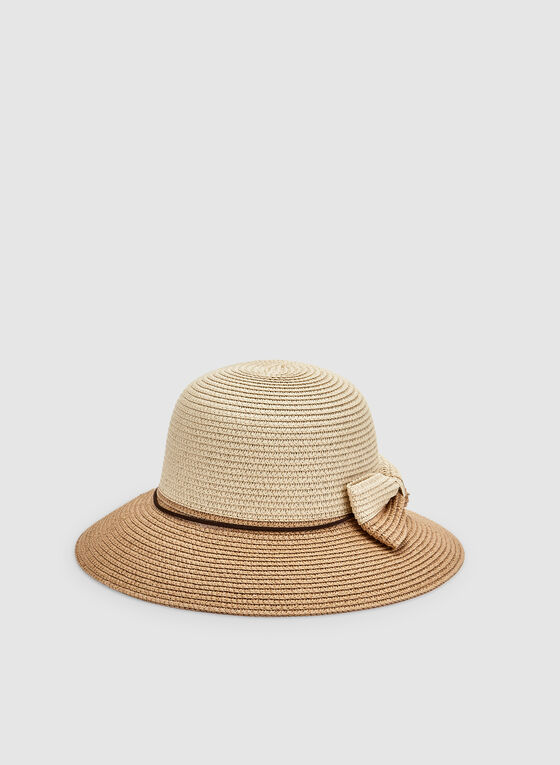 Bow Detail Straw Hat, Brown, hi-res