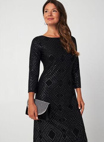 Robe droite scintillante à manches 3/4, Noir, hi-res,  automne hiver 2019, robe de soirée, jersey, manches longues, détails scintillants