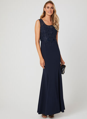 Embellished Empire Waist Dress, Blue, hi-res