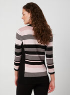 Striped V-Neck Sweater, Black