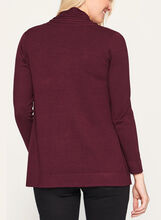 Pleated Collar Open Front Cardigan, Red, hi-res