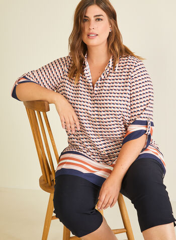 Abstract Print Crepe Blouse, Multi,  blouse, abstract, striped, 3/4 sleeves, henley, crepe, spring summer 2020