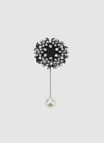 Crystal Embellished Dangle Pin, Black, hi-res