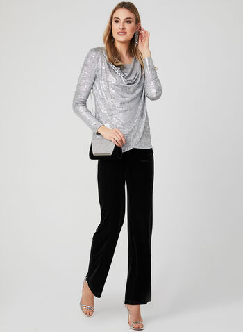 Metallic Foil Blouse, Grey, hi-res