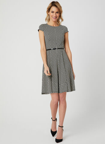 Belted Fit & Flare Dress, Black, hi-res