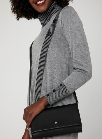 Faux Wrap Tunic Sweater, Grey, hi-res