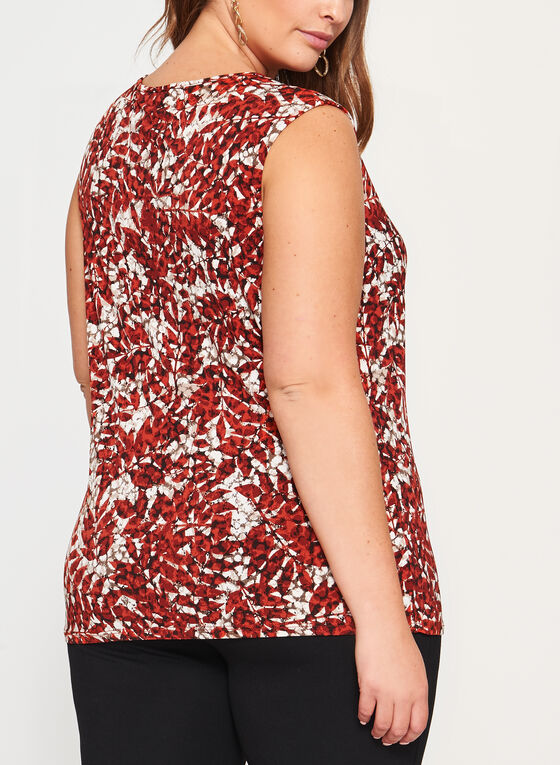 Abstract Print Sleeveless Keyhole Top, Brown, hi-res
