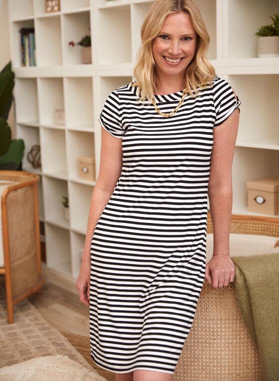 Striped Cold Shoulder Dress, Black