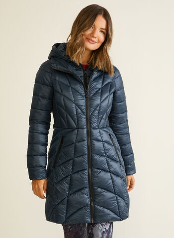 Bernardo - EcoPlume™ Mid Length Coat, Blue,  coat, quilted, hood, vest, pockets, ecoplume, down, fall winter 2020