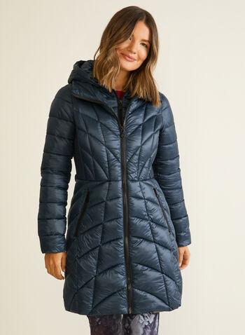 Bernardo - Manteau mi-long matelassé, Bleu,  automne hiver 2020, manteau, Bernardo, mi-long, matelassé, cintré, poches, plastron, chevrons, duvet, EcoPlume