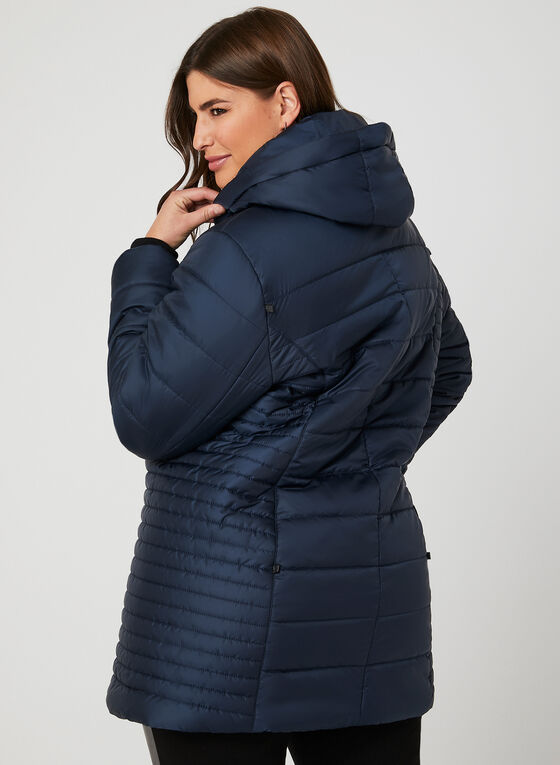 Quilted Faux Fur Trim Coat, Blue, hi-res