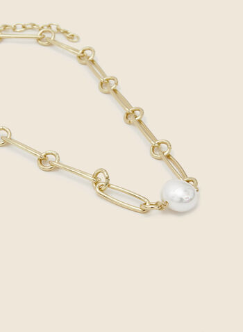 Link Chain Pearl Necklace, Off White,  necklace, short, link, chain, pearl, metallic, gold, fall winter 2020