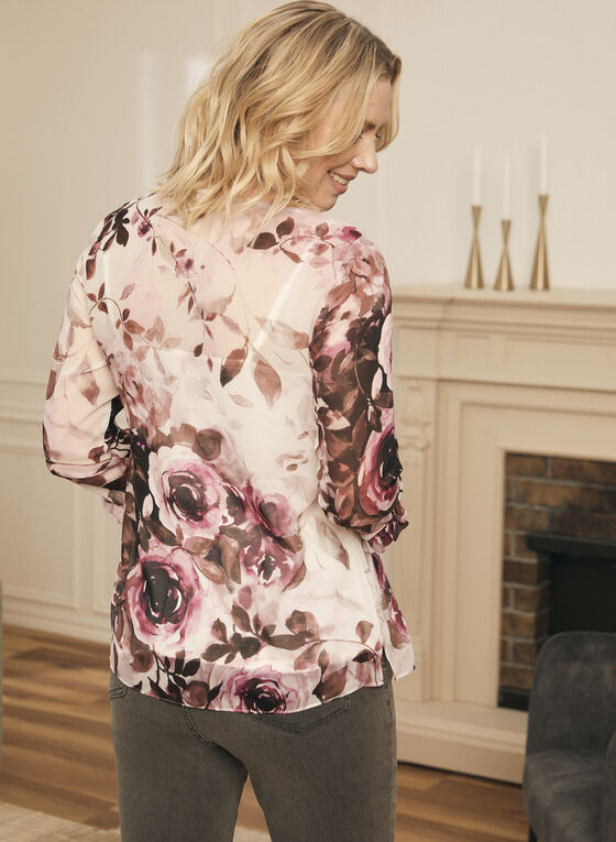 Floral Print Ruffle Sleeve Blouse, White