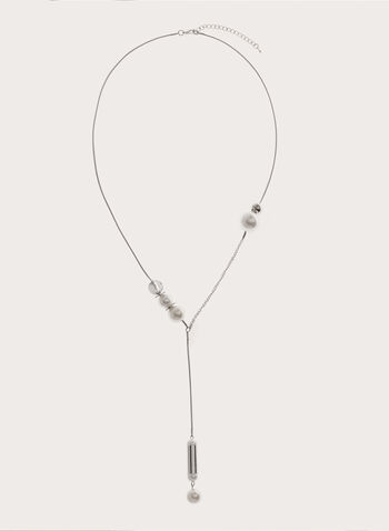 Pearl Embellished Rod Pendant Snake Chain, Off White, hi-res