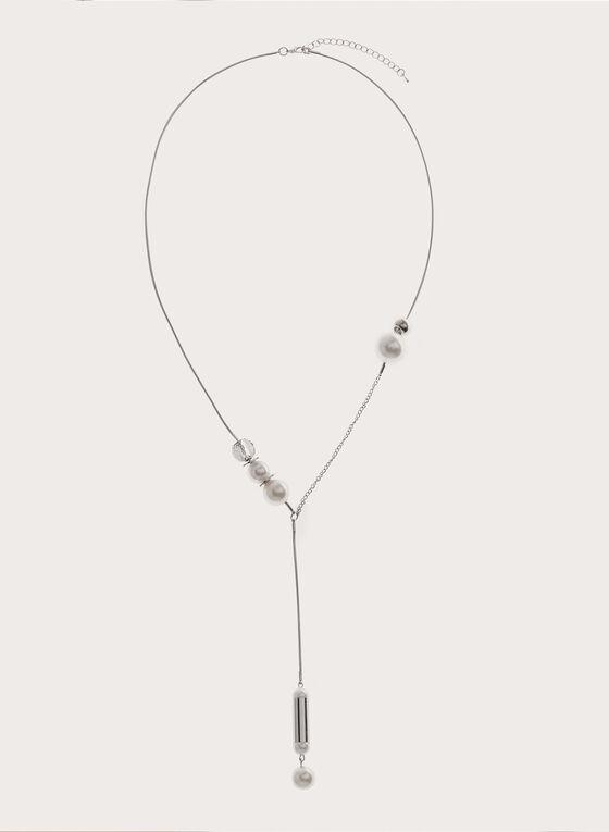 Collier avec perles et baguette, Blanc cassé, hi-res