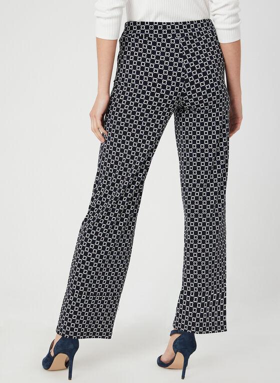 Pantalon coupe moderne à motif géométrique, Bleu, hi-res