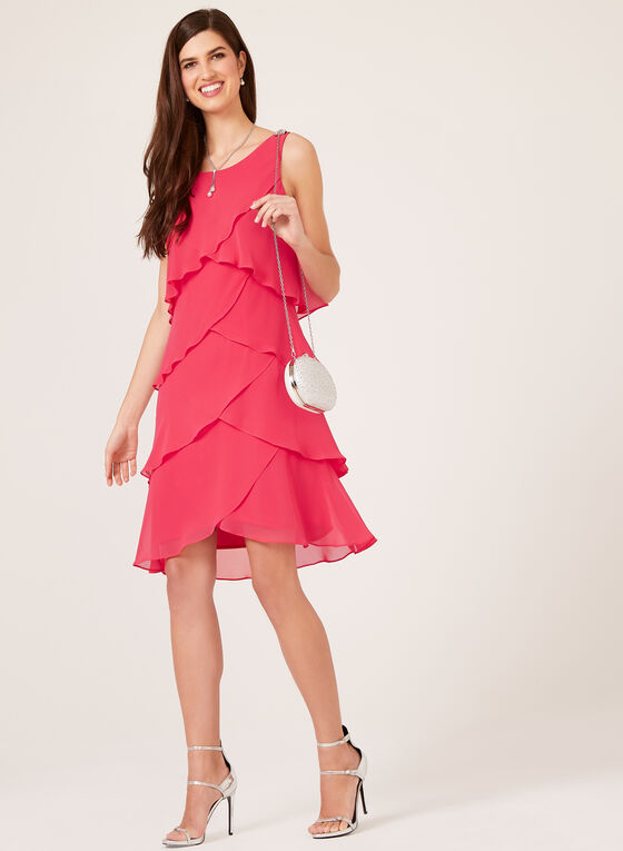 Chiffon Ruffle Evening Dress With Crystal Detail, Pink, hi-res
