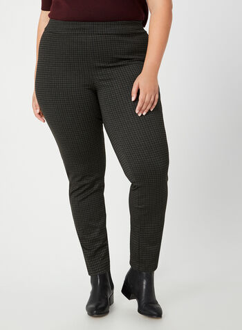 City Fit Houndstooth Pants, Black, hi-res,  Canada, pants, City Fit, slim leg, houndstooth, fall 2019, winter 2019
