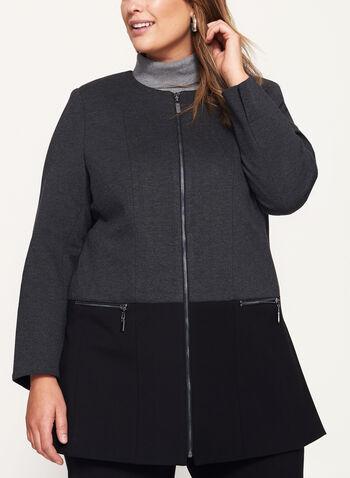 Two-Tone Ponte Jacket , Grey, hi-res