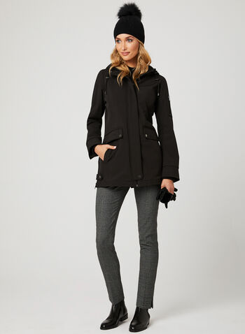 Softshell Hooded Transition Coat, Black, hi-res