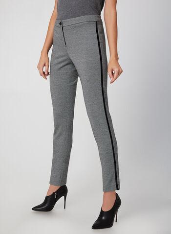 Pantalon cité à motif pied-de-poule, Noir, hi-res,  coupe cité, automne hiver 2019, contrastant, jambe droite, cheville, taille haute
