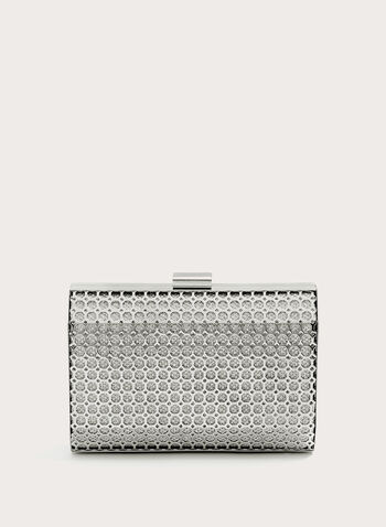 Metal Cutout Overlay Glitter Clutch, Silver, hi-res