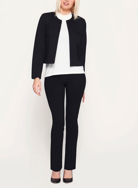 Lace Up Open Front Ponte Blazer, Black, hi-res