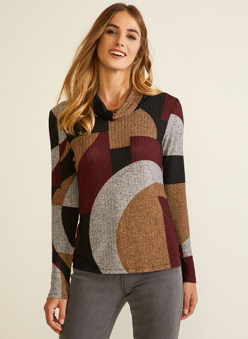 Geometric Print Knit Top, Red,  Fall winter 2020, top, sweater, cowl neck, geometric print, knit, made in canada