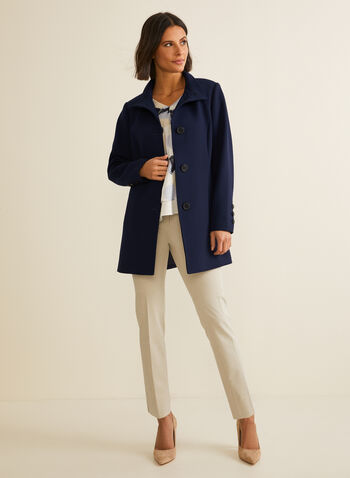 A-Line Coat, Blue,  Spring summer 2020, long sleeves, lining