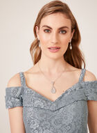 Glitter Lace Off The Shoulder Dress, Grey, hi-res