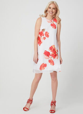 Jessica Howard – Floral Print Chiffon Dress, Off White, hi-res