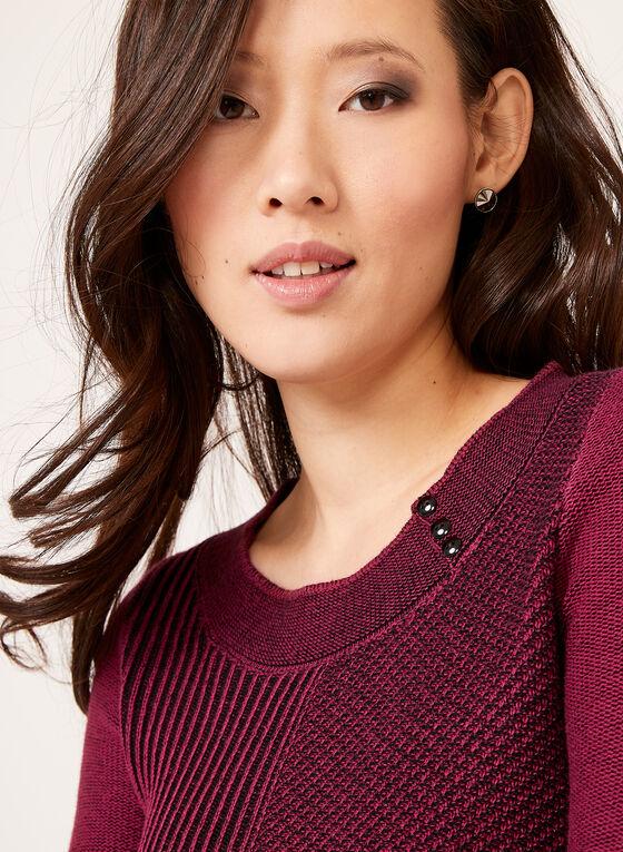 Pull en tricot rayé avec manches ¾, Rouge, hi-res
